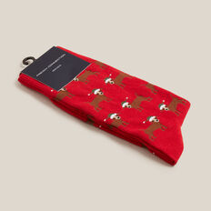 SANTA DOG 1PK SOCKS  RED  hi-res