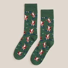 SURFING SANTA 1PK SOCKS  GREEN  hi-res
