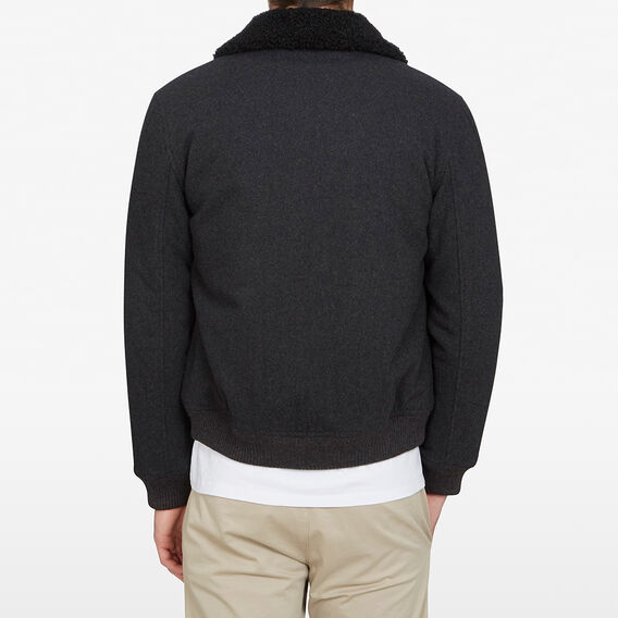 WOOL MELTON SHERPA JACKET  CHARCOAL  hi-res