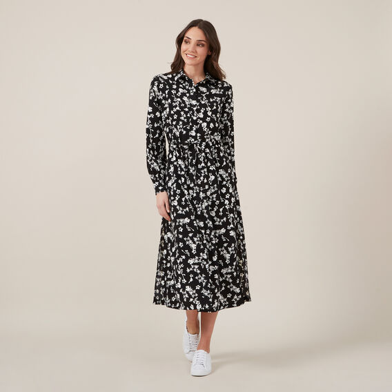 FLORAL SHIRT MAXI DRESS  BLACK  hi-res