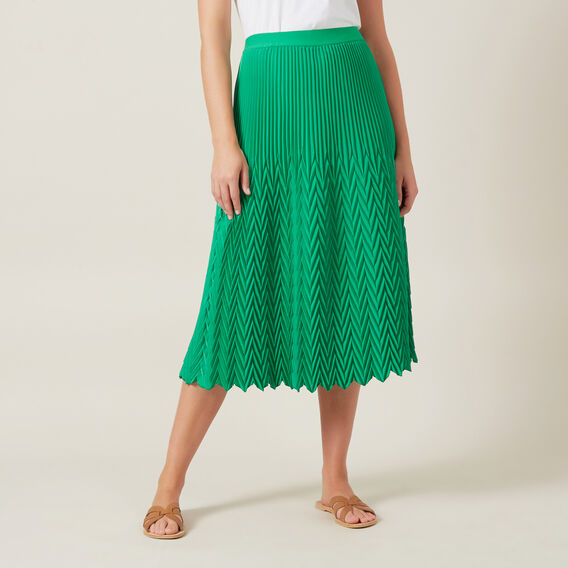 CHEVRON PLEATED SKIRT  GRASSHOPPER GREEN  hi-res