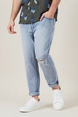 LIGHT WASH TAPERED STRETCH JEAN  LIGHT WASH  hi-res