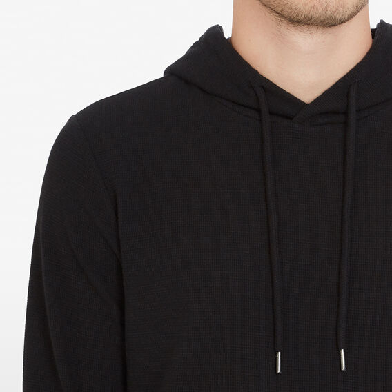 HOODED WAFFLE PULL OVER  BLACK  hi-res