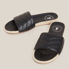 QUILTED ESPADRILLE SLIDE  BLACK/NATURAL  hi-res