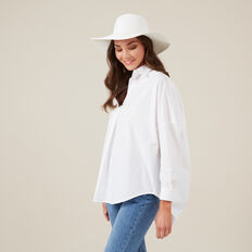 WIDE BRIM HAT  WHITE  hi-res