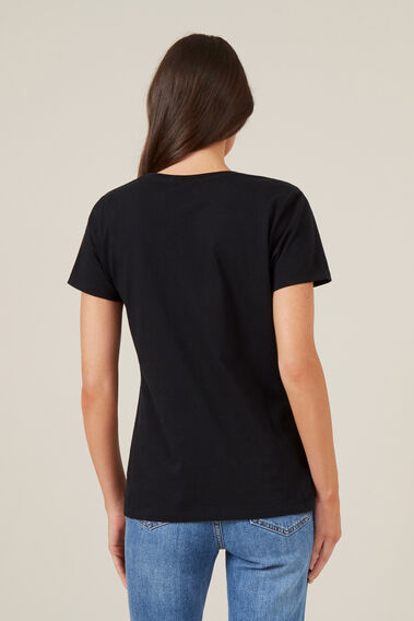 CLASSIC SCOOP NECK TEE  BLACK  hi-res