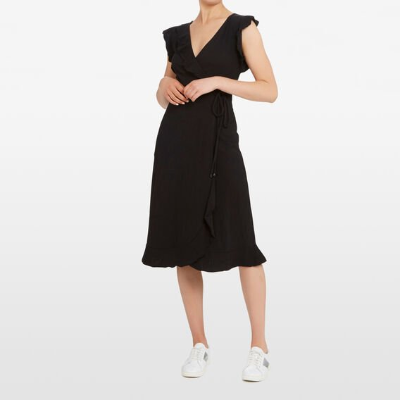 JERSEY  WRAP DRESS  BLACK  hi-res