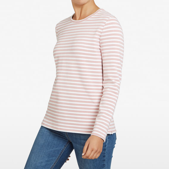 STRIPE LONGSLEEVE SWEAT  DUSTY PINK/OFF WHITE  hi-res