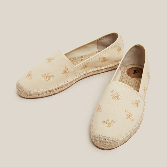 EMBROIDERED BEE ESPADRILLE  NATURAL  hi-res