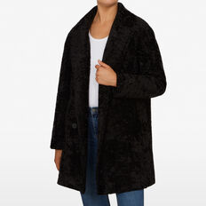 TEXTURED FAUX FUR COAT  BLACK  hi-res