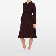 ABSTRACT FLORAL MIDI DRESS  NAVY/MERLOT  hi-res