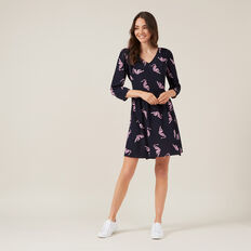BABYDOLL TIGER PRINT DRESS  NAVY  hi-res