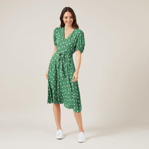 SPOT PRINT DRESS  SPRING GREEN SPOT  hi-res