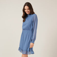 DOBBY MOCK NECK DRESS  BLUE  hi-res