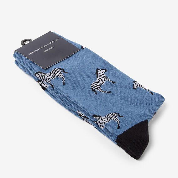 ZEBRA 1PK SOCKS  BLUE SHADOW  hi-res
