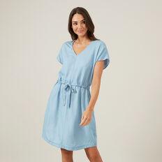 CHAMBRAY MINI DRESS  BLUE  hi-res