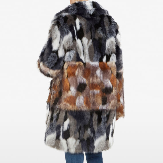 FLECKED FAUX FUR COAT  UTILITY BLUE/BROWN  hi-res