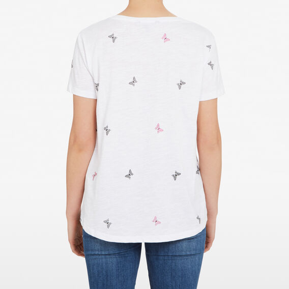 BUTTERFLY YARDAGE TEE  SUMMER WHITE/MAGENTA  hi-res