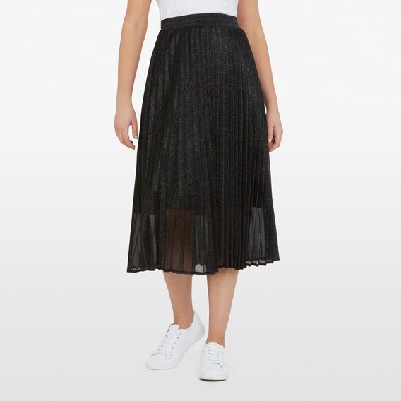 SPARKLE PLEATED SKIRT  BLACK  hi-res