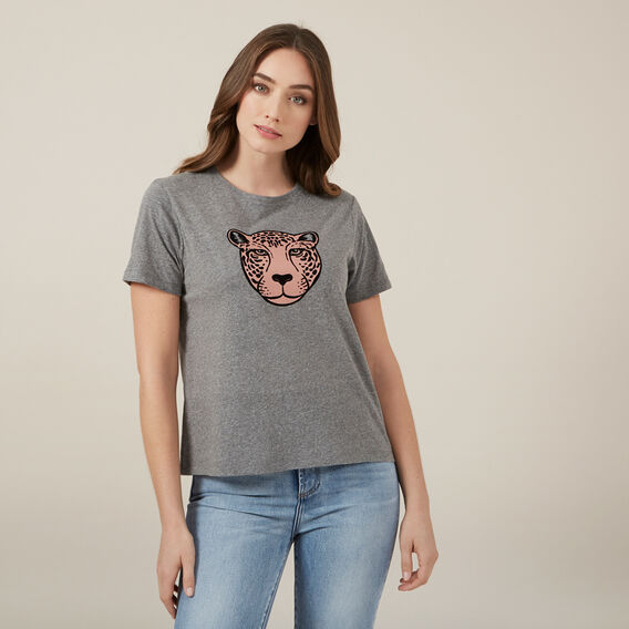 LEOPARD PLACEMENT TEE  GREY MARLE  hi-res