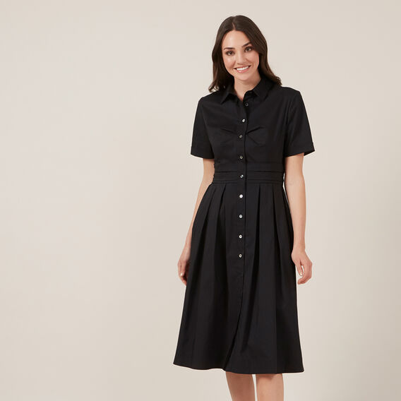 FULL SKIRT SHIRT DRESS  BLACK  hi-res