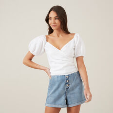 PUFF SLEEVE LINEN BLOUSE  WHITE  hi-res