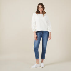 FLORAL TEXTURED SWEAT  WINTER WHITE  hi-res