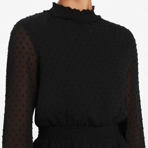 DOBBY MOCK NECK DRESS  BLACK  hi-res