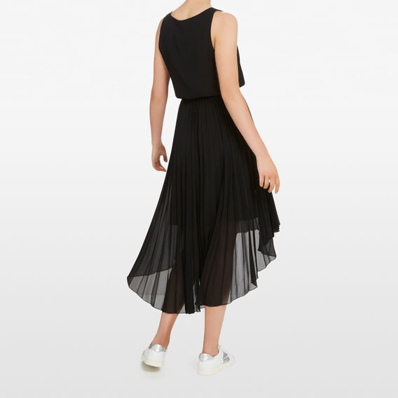 PLEATED V NECK DRESS  BLACK  hi-res