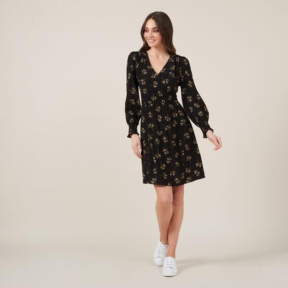 SHIRRED WAIST MINI DRESS  BLACK  hi-res