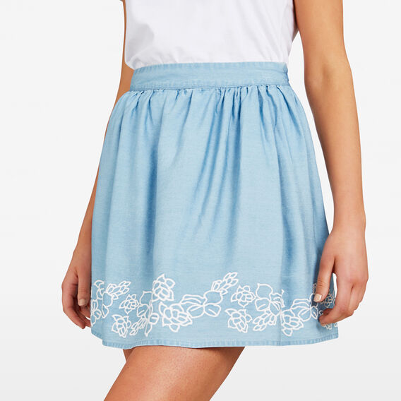 FLORAL EMBROIDERED HEM SKIRT  CHAMBRAY  hi-res