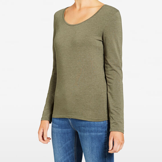 HAYLEY SCOOP NECK TEE  KHAKI MARLE  hi-res