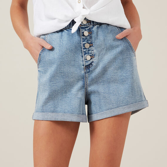HIGH WAIST SHORT  LT DENIM  hi-res