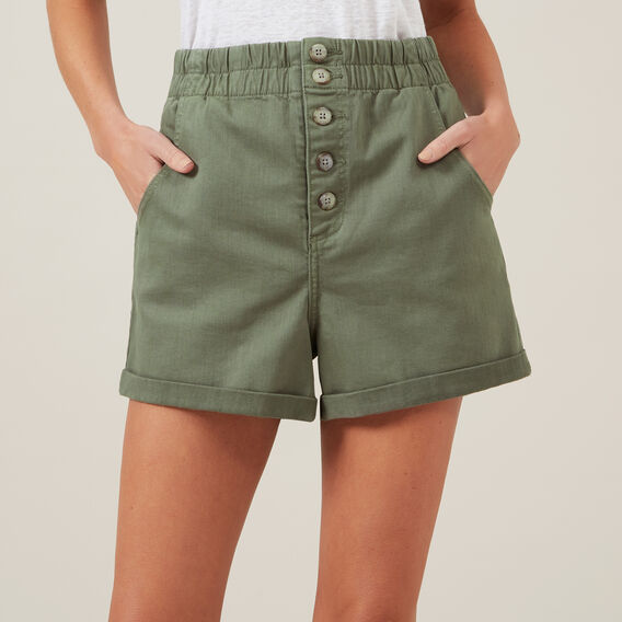 HIGH WAIST SHORT  KHAKI  hi-res