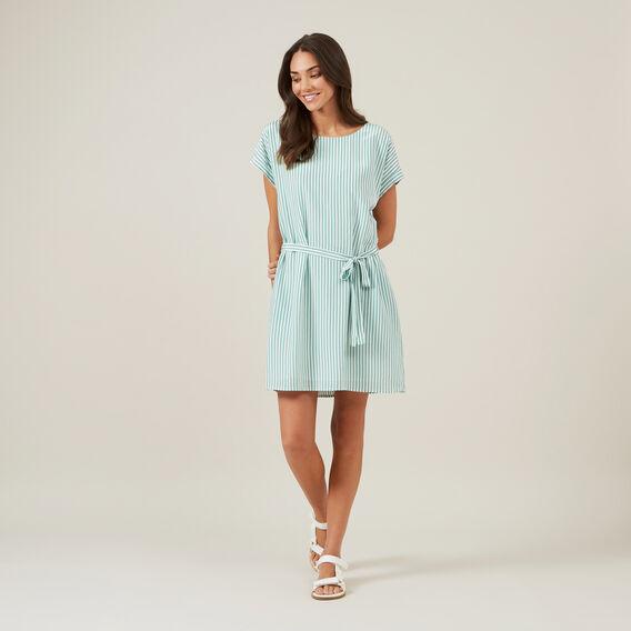 STRIPE BELTED DRESS  GREEN/MULTI  hi-res