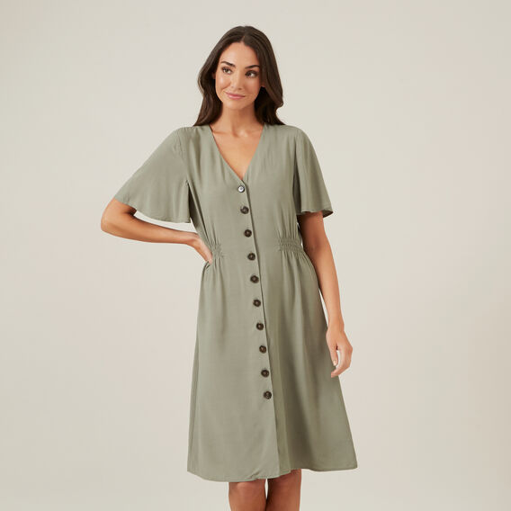 FLUTTER SLEEVE MIDI DRESS  KHAKI  hi-res