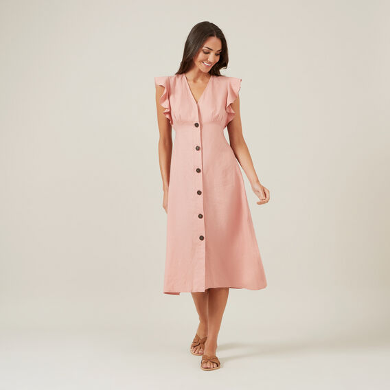 FRILL SLEEVE LINEN DRESS  DUSTY PINK  hi-res