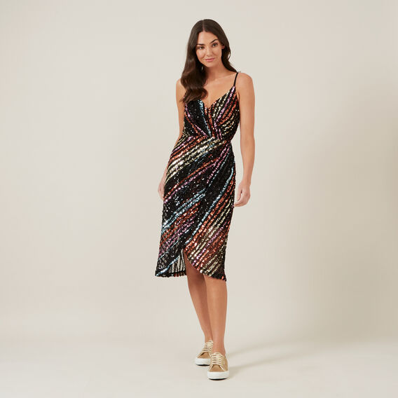 SEQUIN MOCK WRAP DRESS  MULTI  hi-res