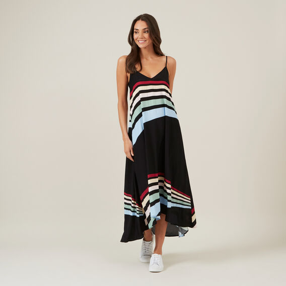 RAINBOW RAYS MAXI DRESS  BLACK/MULTI  hi-res