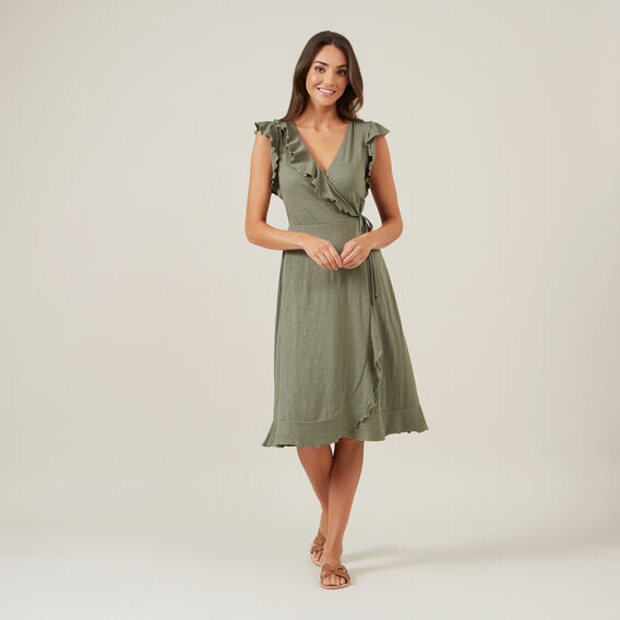 JERSEY WRAP DRESS  KHAKI  hi-res