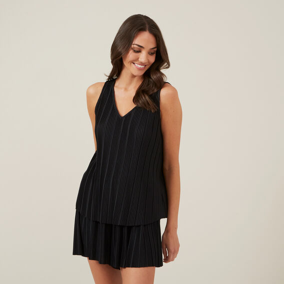 PLEATED CAMI  BLACK  hi-res