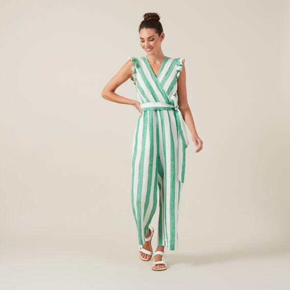 WIDE LEG JUMPSUIT  GREEN/WHITE  hi-res