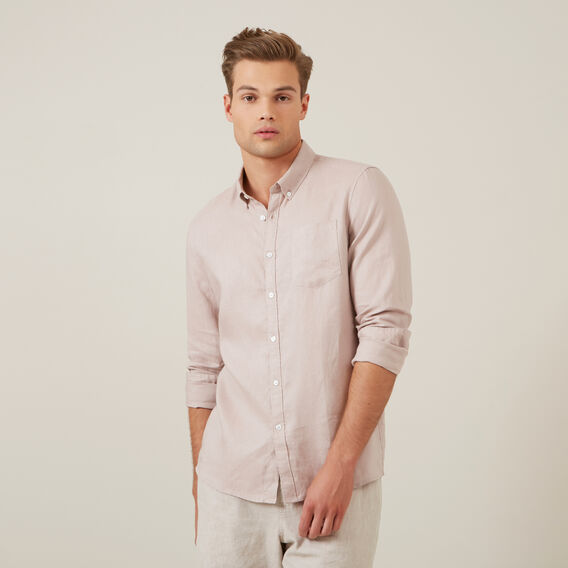 LINEN L/S CLASSIC FIT SHIRT  DUSTY PINK  hi-res