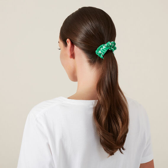 LOOPED FLORAL HAIR SCRUNCHIE  FLORAL/GREEN  hi-res