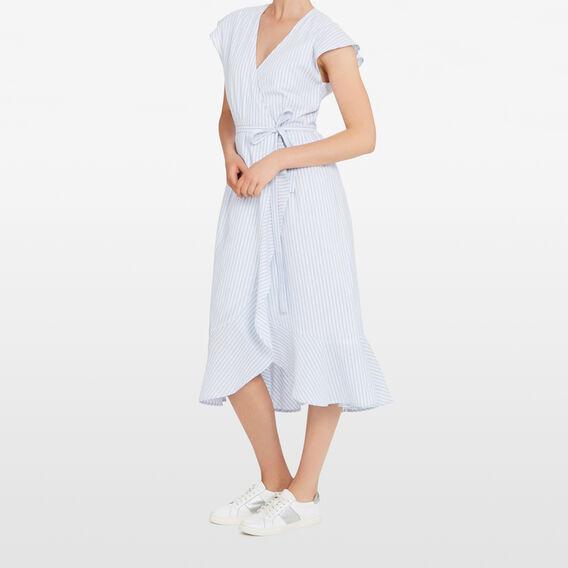 STRIPE WRAP DRESS  SEA BLUE/SUMMER WHIT  hi-res