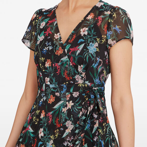 EXOTIC BLOOM WRAP DRESS  BLACK/MULTI  hi-res