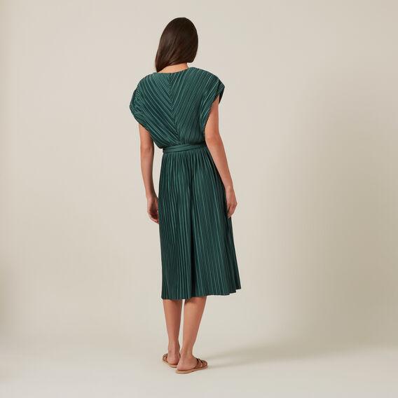 PLEATED V-NECK MIDI DRESS  GREEN  hi-res