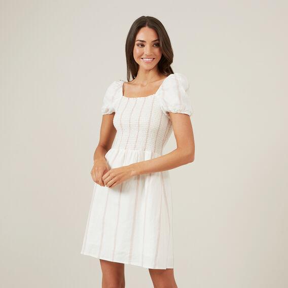 STRIPE SHIRRED MINI DRESS  WHITE  hi-res