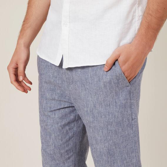 LINEN BLEND PULL ON PANT  INDIGO MELANGE  hi-res