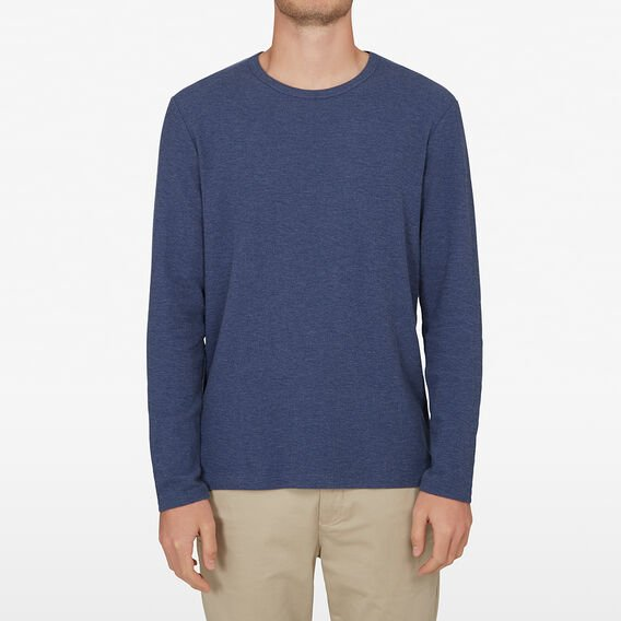 WAFFLE LONG SLEEVE T-SHIRT  WASHED BLUE  hi-res